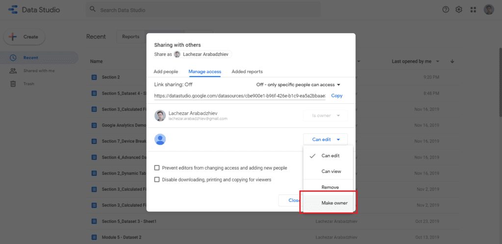 transfer ownership completely with google data studio