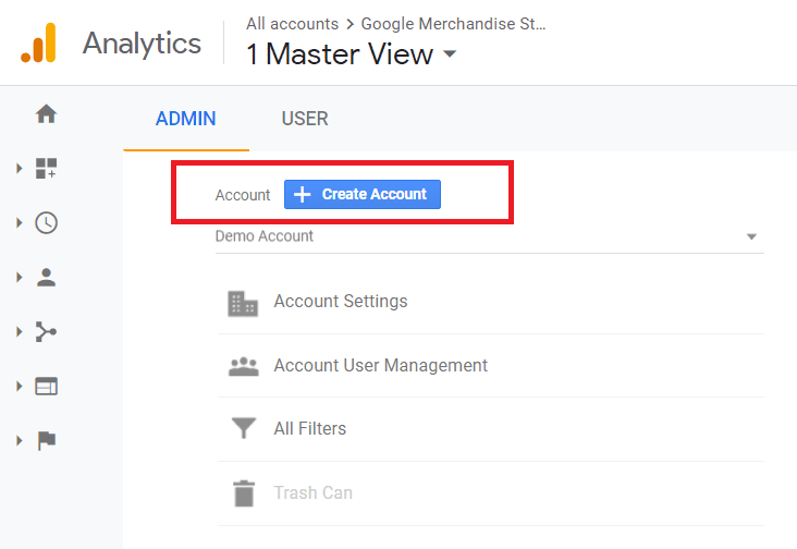 create an account in google analytics