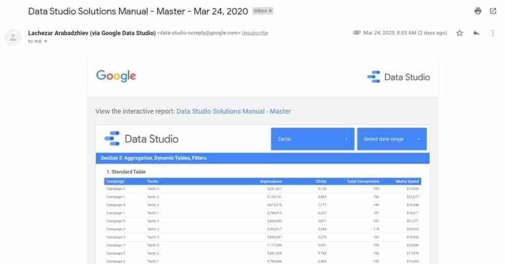 data studio email inbox