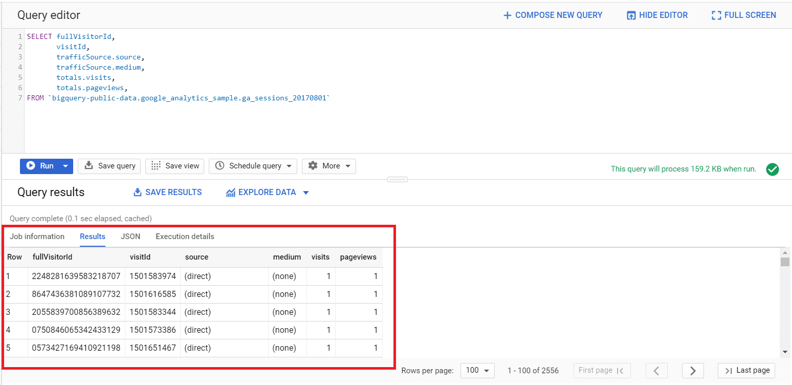 query results in google bigquery