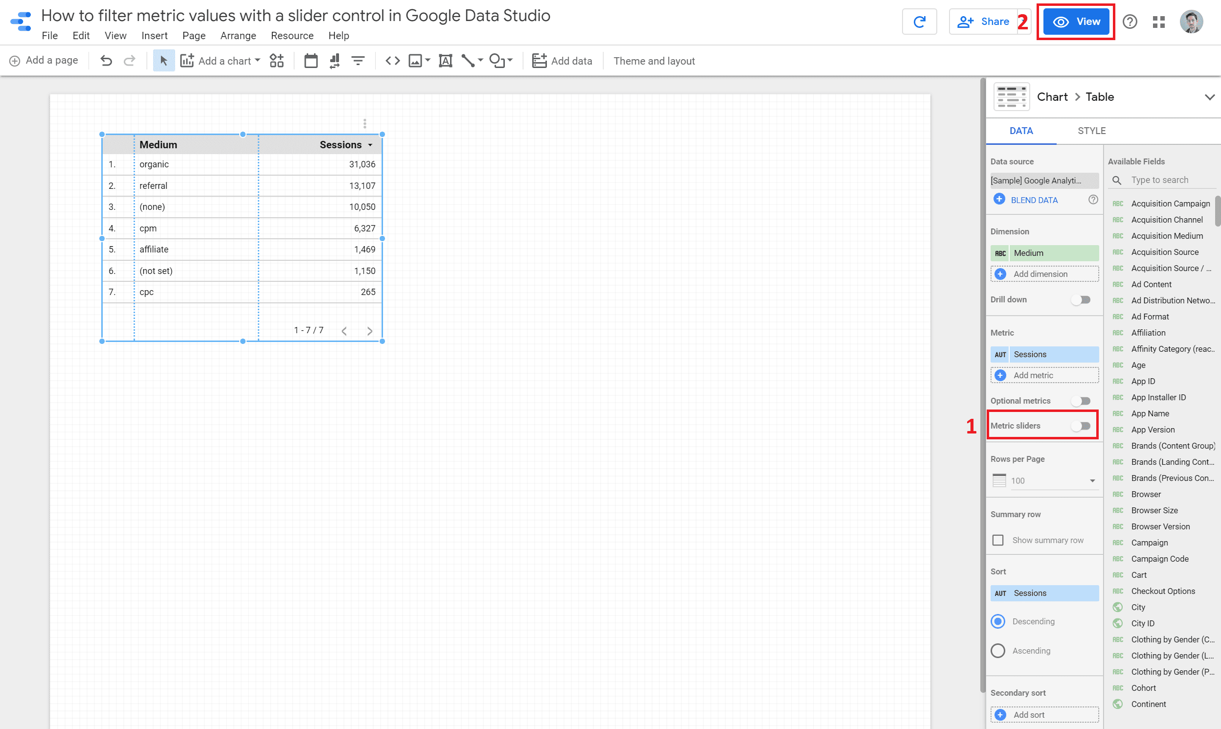 metric sliders toggle highlighted in red and the view button