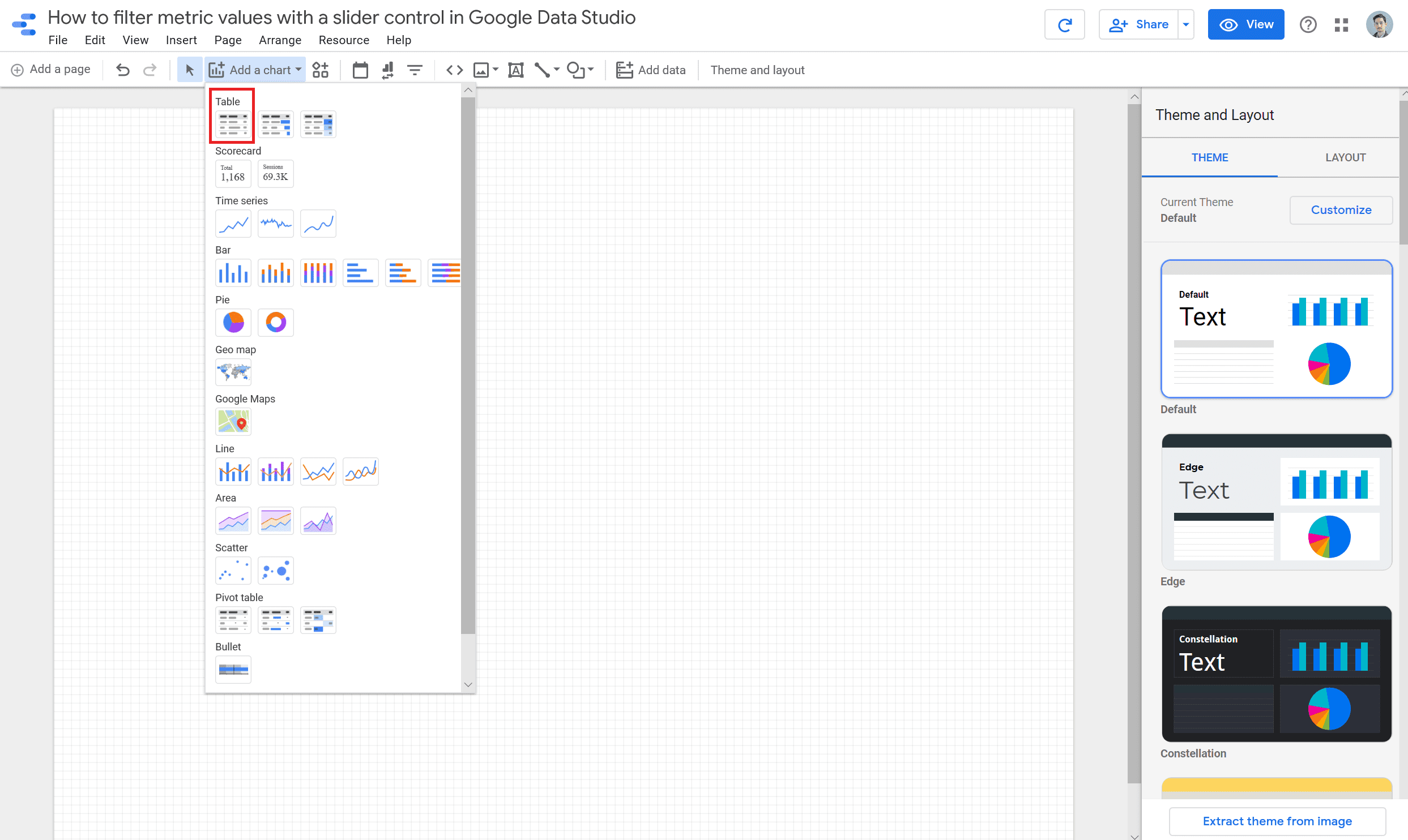 select a table chart type in google data studio