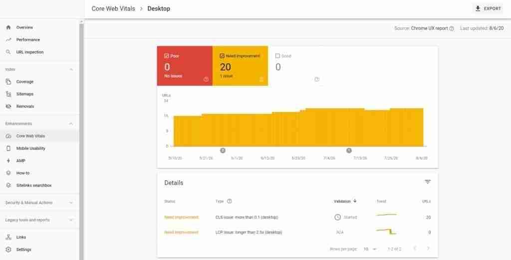 google search console web vitals