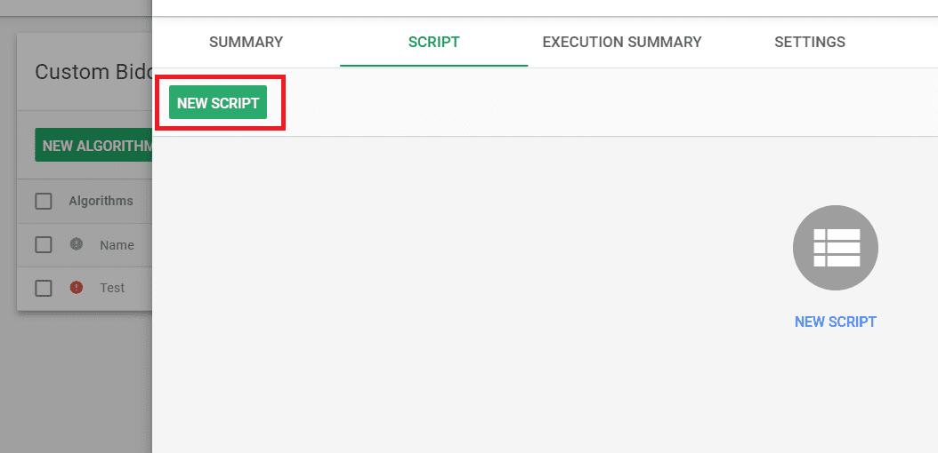 create a new script in custom bidding