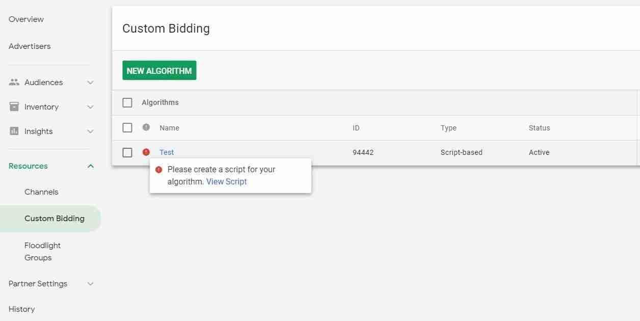 custom bidding algorithm warning
