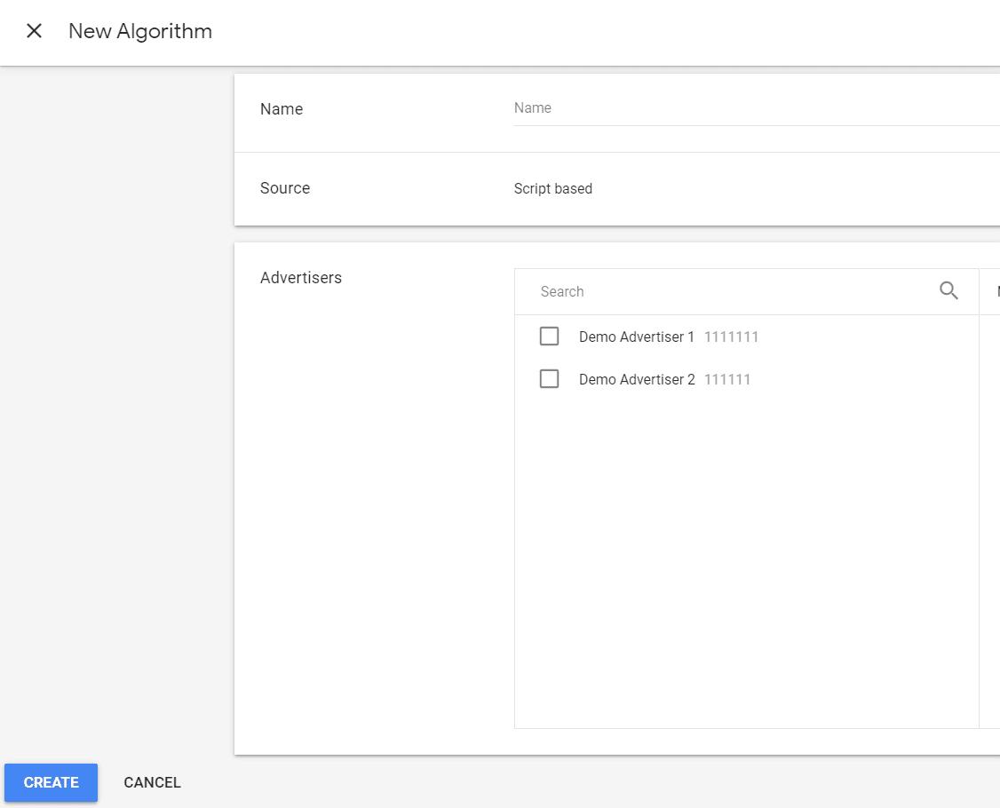 new algorithm setup in the custom bidding console