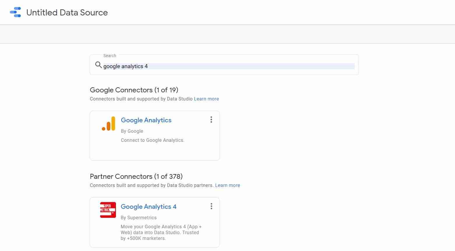 Supermetrics Google Analytics 4 connector
