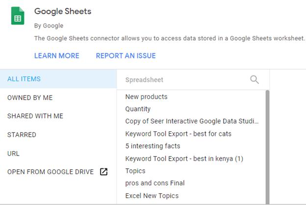 google sheets selection
