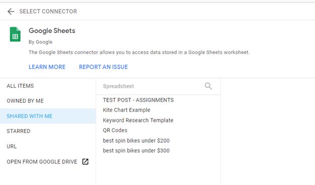 google sheets data source