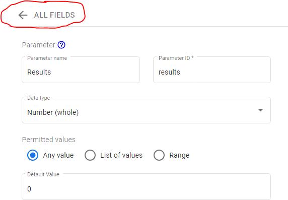 the data studio parameters settings menu