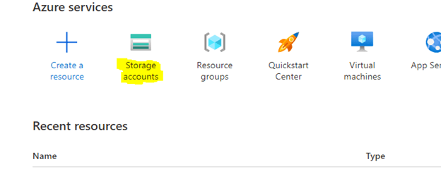 storage account highlighted