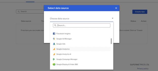 data source drop-down menu