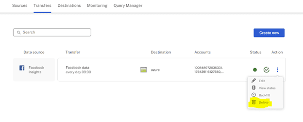 transfers delete bin Supermetrics for Azure Storage